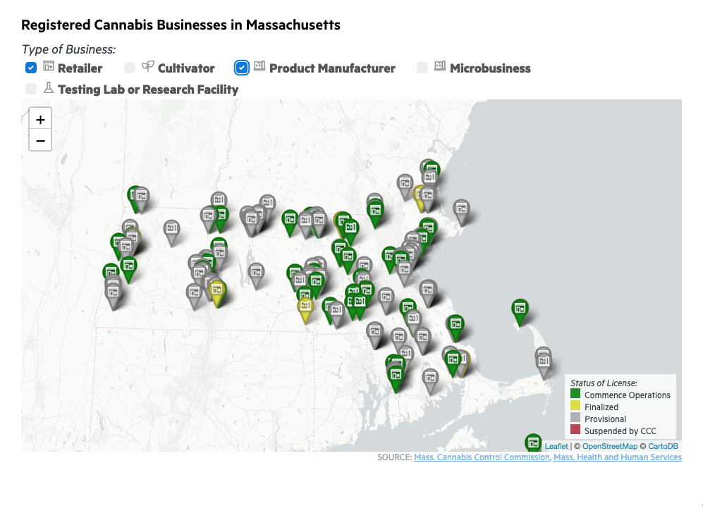 Map: Mass. Recreational Marijuana Stores (And Other Businesses)